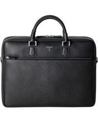 Serapian Black Cachemire Leather Slim Briefcase
