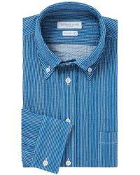 Richard James - Indigo And White Stripe Seersucker Cotton Shirt - Lyst