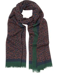 Drake's Navy And Rust Fish Print Wool Scarf - Blue