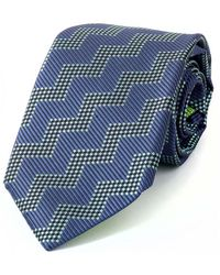 Augustus Hare - Navy And Green Oswalk Silk Tie - Lyst