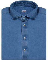 Naked Clothing - Light Blue Long Sleeve Stone Washed Denim Polo Shirt - Lyst
