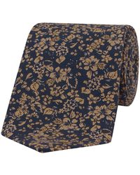 Fumagalli 1891 Navy And Sepia Floral-print Silk Tie - Blue