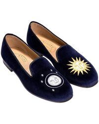 Stubbs & Wootton Blue Embroidered Night And Day Velvet Slippers