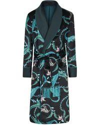 New & Lingwood Black And Blue Crocodile Lined Velvet Dressing Gown