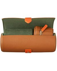 Stow Sahara Tan Sanderson Leather Watch Roll Gift Set - Brown