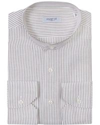 Marol - Striped White Collarless Shirt - Lyst