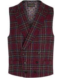 New & Lingwood - Hockcliff Red Tartan Double-breasted Waistcoat - Lyst