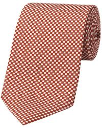 Budd Shirtmakers Copper And Fawn Checkerboard Hopsack Tie - Brown