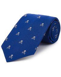 New & Lingwood - Royal Blue Skull And Crossbones Silk Tie - Lyst