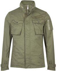 Schott Nyc - Khaki Cotton Hidden Hood Field Jacket - Lyst