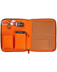 Stow Sahara Tan And Orange First Class Leather Tech Case - Brown
