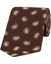 Fumagalli 1891 Brown And Sepia Paisley Petal Silk Tie