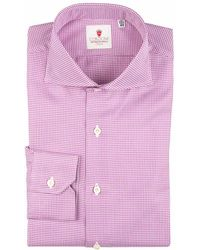 Cordone 1956 - Lilac Houndstooth Galles Cotton Shirt - Lyst
