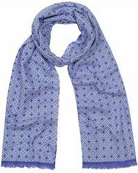 Anderson & Sheppard - Sky Blue And Indigo Tubular Cotton Mosaic Scarf - Lyst