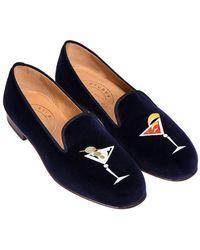 Stubbs & Wootton Blue Embroidered Martini Velvet Slippers