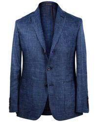 Rubinacci - Blue Unlined Three Button Houndstooth Wool Linen & Silk Jacket - Lyst