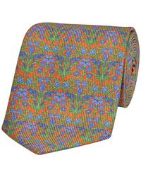 Calabrese 1924 Orange Silk Tie With Blue Lily Print