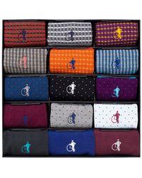 London Sock Company Designer Sock Collection Box Of 15 - Multicolor