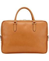 Tusting Tan Leather Slim Piccadilly Laptop Briefcase - Brown