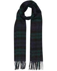 Johnstons Navy And Green Black Watch Tartan Classic Cashmere Scarf - Multicolor