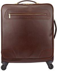 Tusting Chocolate Leather Wheeled Goldington Suitcase - Brown