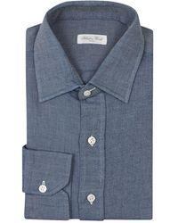 2663065259 Lyst - Salvatore Piccolo Chambray Shirt in Blue for Men