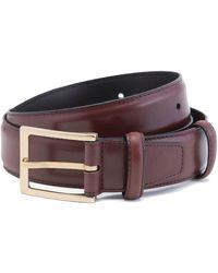 Carmina Burgundy Box Calf Leather Belt - Purple
