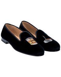 Stubbs & Wootton - Black Embroidered Scotch Velvet Slippers - Lyst