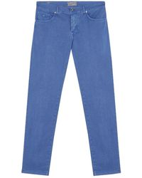 Marco Pescarolo Blue Cotton And Silk-blend Trousers
