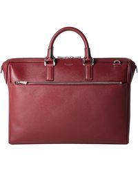 Serapian Burgundy Evoluzione Leather Mezzaluna Briefcase - Red
