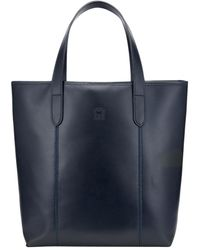 Tusting Navy Leather Chelsea Simple Eco-tote Bag - Blue