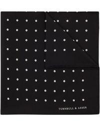 Turnbull & Asser Black Spot Silk Pocket Square