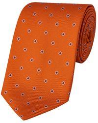 Budd Shirtmakers Orange Square-dot Silk Tie
