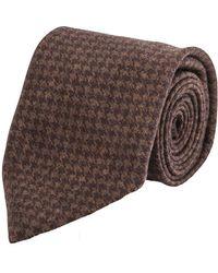 Cifonelli - Brown Houndstooth Silk Tie - Lyst