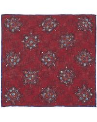 Calabrese 1924 - Strawberry Red And Blue Floral Linen Pocket Square - Lyst