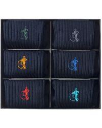 London Sock Company Simply Navy Cotton Socks Gift Box Of 6 - Blue