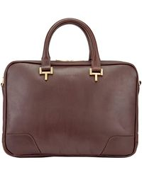 Tusting Chocolate Leather Mortimer Briefcase - Brown