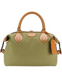 Tusting Olive Canvas And Leather Small Explorer Holdall - Green