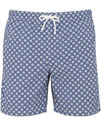 Anderson & Sheppard Dark Blue Clover Print Swim Shorts