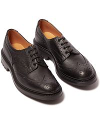 Tricker's - Ilkley Black Scotch Grain Leather Wingtip Brogues - Lyst