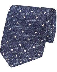 Salvatore Piccolo Blue And White Check Silk Tie