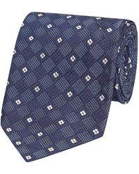 Salvatore Piccolo - Blue And White Check Silk Tie - Lyst