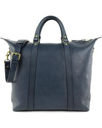 Frank Clegg | Navy Hampton Zipper Leather Tote | Lyst