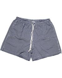 Calabrese 1924 - Navy And White Geometric Print Swim Shorts - Lyst