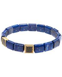 Nialaya - Blue Lapis And Black Cz Diamond Flatbead Wristband - Lyst