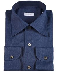 Marol Navy Convertible Collar Denim Shirt - Blue