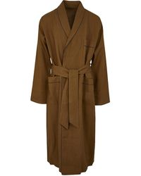 Anderson & Sheppard Tobacco Linen Dressing Gown - Brown