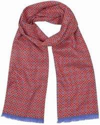 Anderson & Sheppard - Red And Sky Blue Tubular Cotton Mosaic Scarf - Lyst