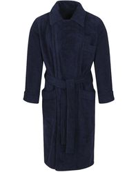 Anderson & Sheppard Navy Cotton Towelling Double-breasted Dressing Gown - Blue