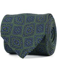 Rubinacci Green And Blue Floral Motif Silk Tie